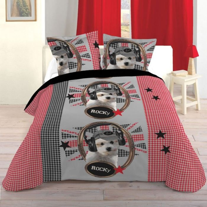 housse de couette 220 x 240 cm taies chien achat. Black Bedroom Furniture Sets. Home Design Ideas
