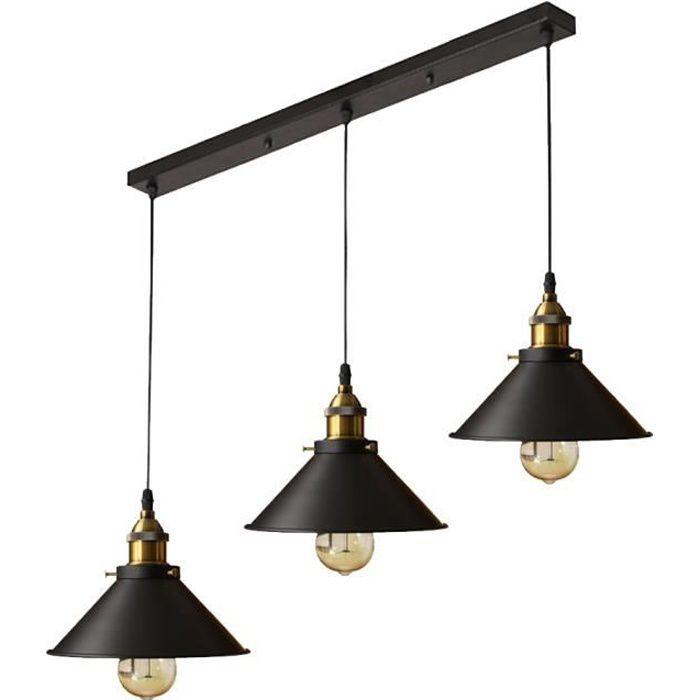 Pendentif lampe suspension industrielle vintage E27 Ø 15cm avec 3 ampoules led