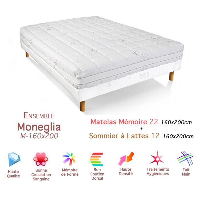 ensemble moneglia matelas m moire de forme sommier 22 12 160x200cm achat vente ensemble. Black Bedroom Furniture Sets. Home Design Ideas