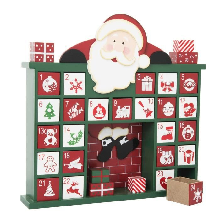 calendrier de l 39 avent en bois pere noel achat vente accessoire maquette cdiscount. Black Bedroom Furniture Sets. Home Design Ideas