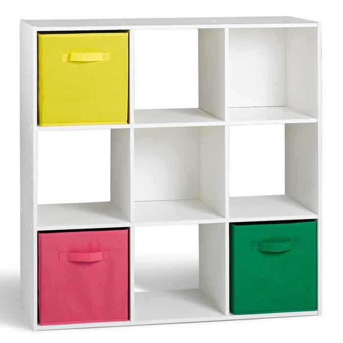 Compo lot de 2 cubes 9 cases blanc achat vente petit for Meuble 12 cases