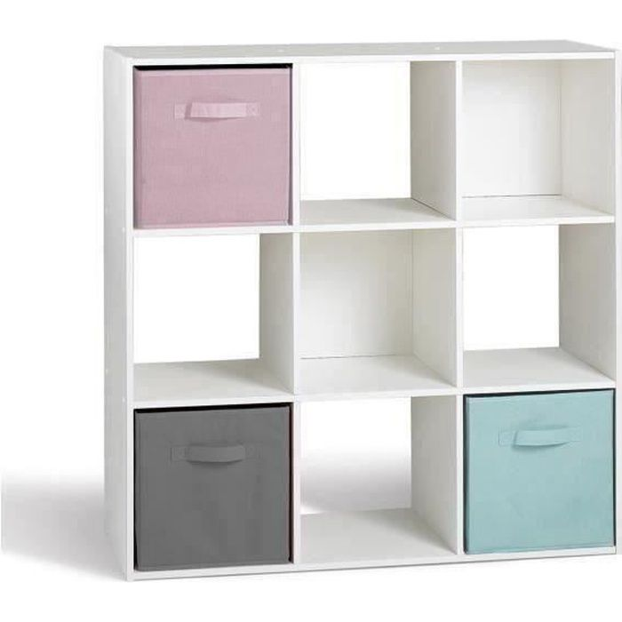 Compo meuble de rangement 9 cases contemporain blanc l for Meuble petit casier