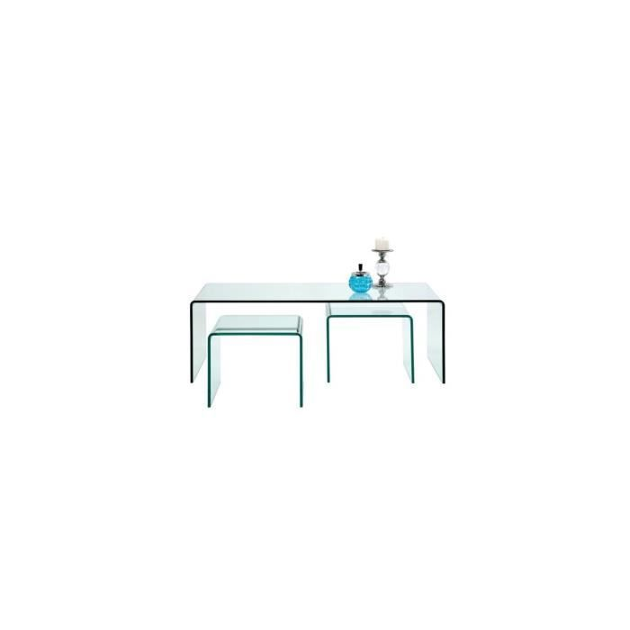 Set de 3 tables gigognes en verre fidji achat vente for Set de table pour table en verre