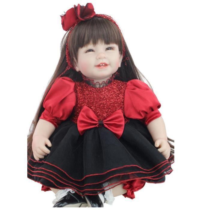 """POUPON bébé-reborn poupées 22 """"cheveux longs soir robe ro"""