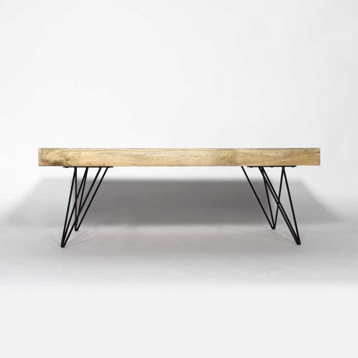 Table basse deux allonges en manguier baltiq bois for Meuble en bois de manguier