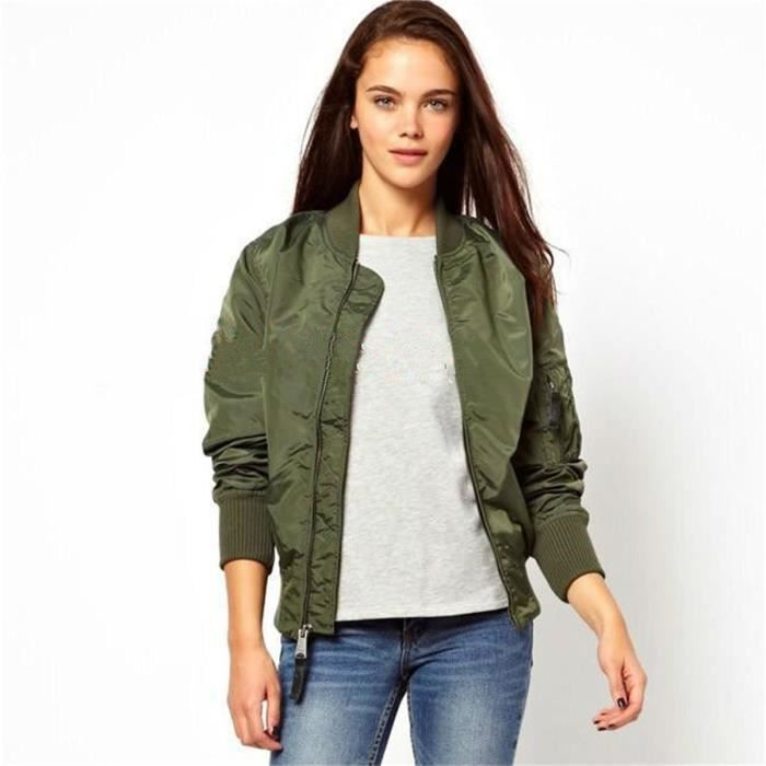 veste militaire femme l g re printemps vert vert achat vente veste cdiscount. Black Bedroom Furniture Sets. Home Design Ideas