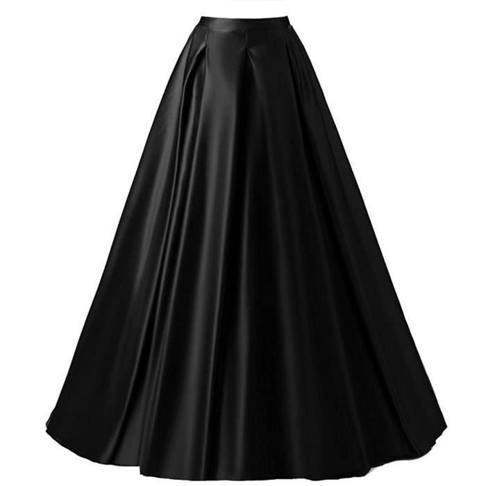 Maxi Jupe Trapeze Femme Longue De Soiree Noire Retro Vintage Taille Haute Princesse Swing En Satin Pour Mariage Avec 2 Poches Noir Noir Achat Vente Jupe Cdiscount