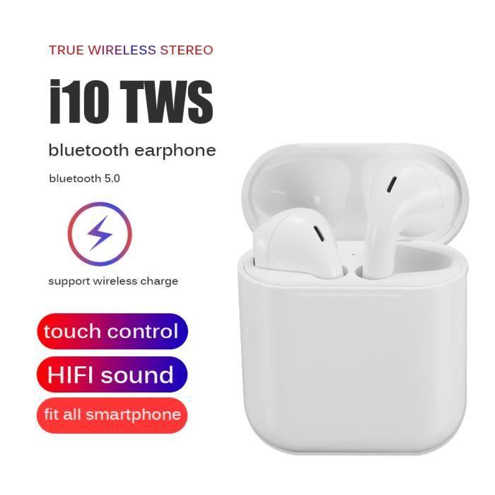 COMMUTATEUR CASQUE i10 TWS Écouteurs Bluetooth, Oreillettes sans Fil