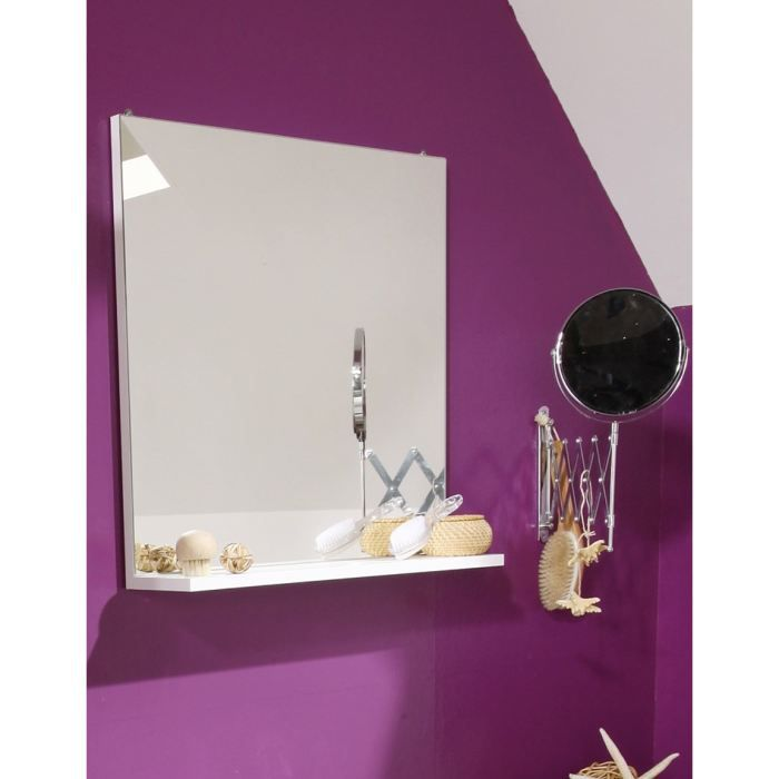 slash miroir de salle de bain l 60 cm blanc achat vente miroir salle de bain slash meuble. Black Bedroom Furniture Sets. Home Design Ideas