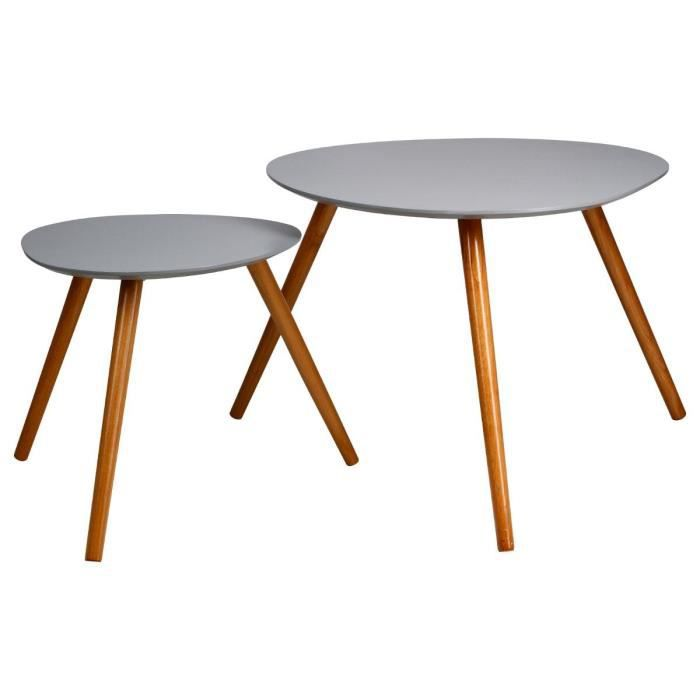 Paris prix set de 2 tables d 39 appoint mileo gris achat for Table scandinave grise