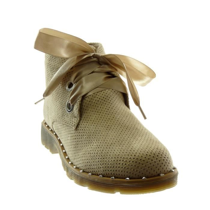 Angkorly - Chaussure Mode Bottine Derbies Desert Boots femme Lacet ruban satin perforée clouté Talon bloc 3 CM - Noir - XH1036 T 39 GeKvjcQPR