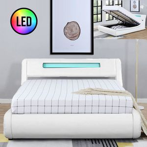 STRUCTURE DE LIT Lit design Julio avec coffre - Blanc - 140x190