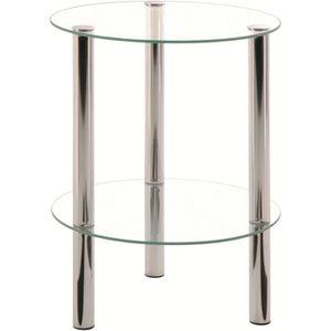 TABLE D'APPOINT Table d'appoint ronde Belly chrome et verre trempé