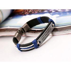 sieurs couleurs Bracelet gourmette bijou cuir