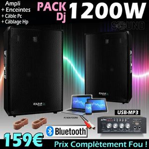 PACK SONO PACK SONO 1200W + AMPLI + 2 ENCEINTES 600W PA DJ S