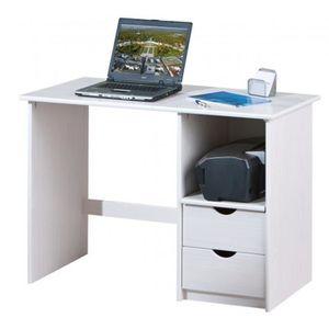 BUREAU  Bureau blanc avec 2 tiroirs - Dim : L 115 x P 55 x