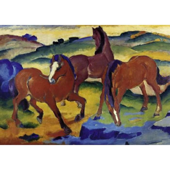 franz marc poster reproduction les chevaux rouges 21 x 30 cm achat vente affiche cdiscount. Black Bedroom Furniture Sets. Home Design Ideas