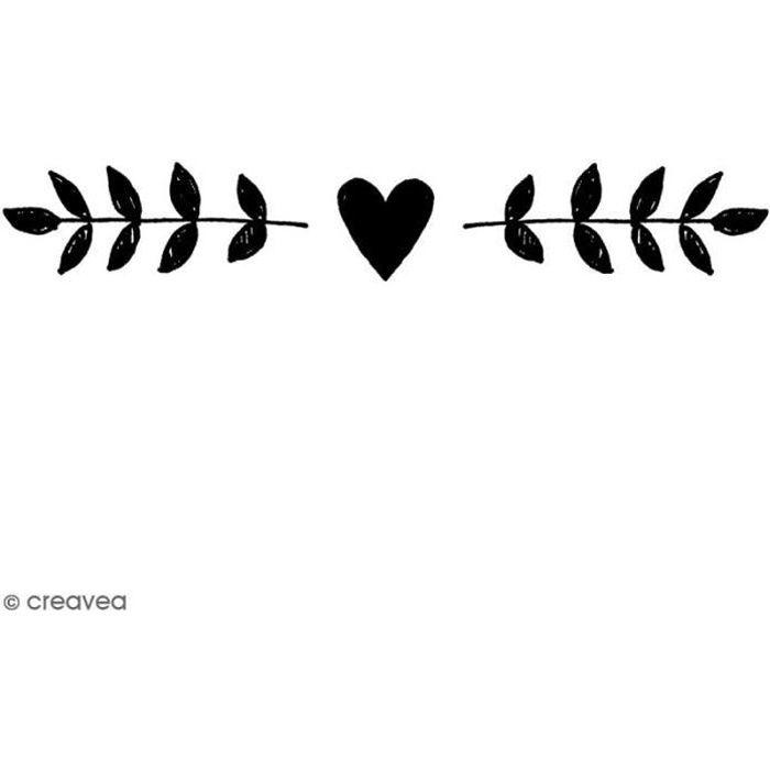 Tampon Bois Artemio - Frise de coeurs - 2,5 x 7,5 cm