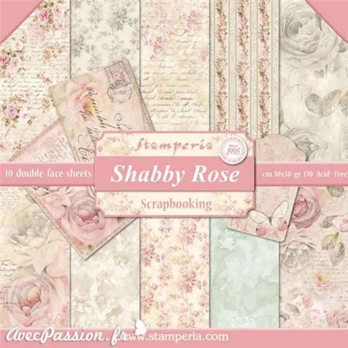 Papier scrapbooking assortiment shabby roses 10f recto verso 30 x 30 cm Rose