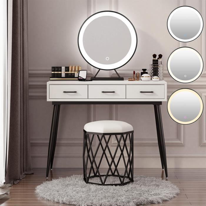 JINKEEY Grand Miroir Maquillage Lumineux LED, Miroir de table avec Touch Control Design, Gradable en 3 couleurs - Noir 40x 40cm