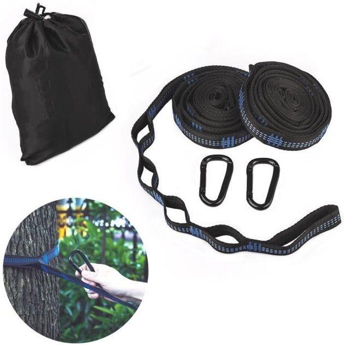 Ecent Kit de fixation hamac ultra-résistant 2 cordes hamac durable en polyester + 2 mousquetons de fer avec un sac de rangement