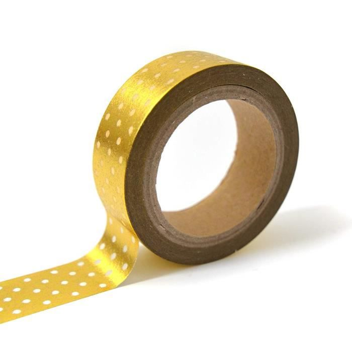 Toga MT105 Masking Tape Pois Washi Tape Or-Blanc 4 x 9 x 5 cm
