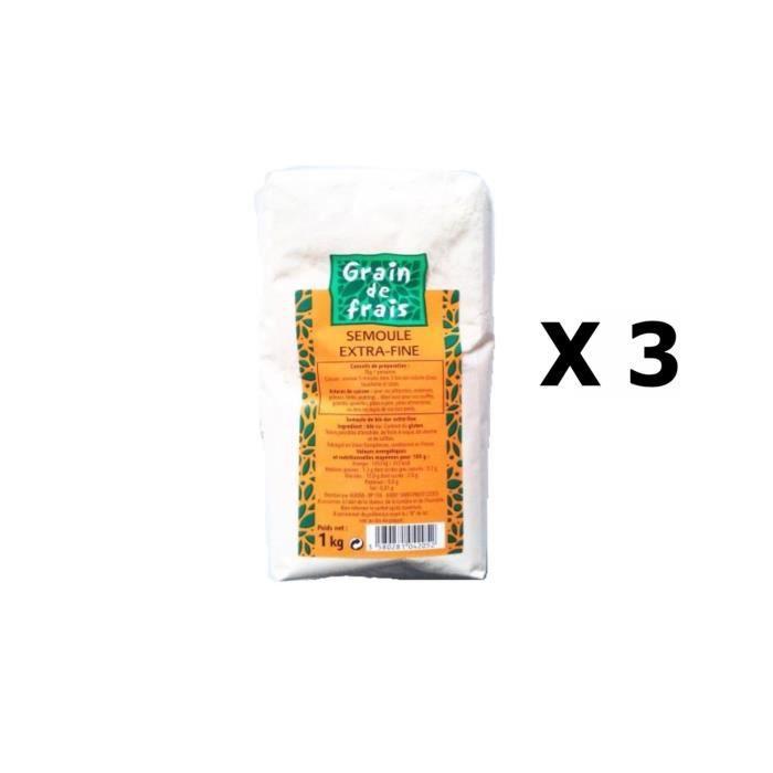 Lot 3x Semoule extra fine - Grain de Frais - paquet 1kg