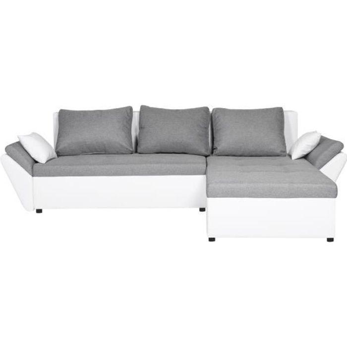 Canapé d'angle droit ALBA Convertible avec Coffre Blanc - Gris