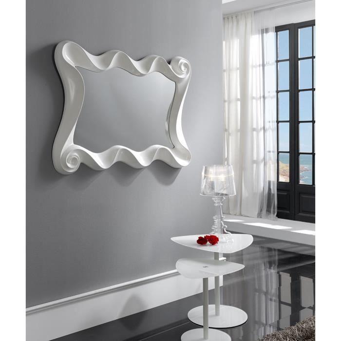Miroir mural en gris ou blanc laqué design LILOU Blanc laqué L 115 x H 84 cm