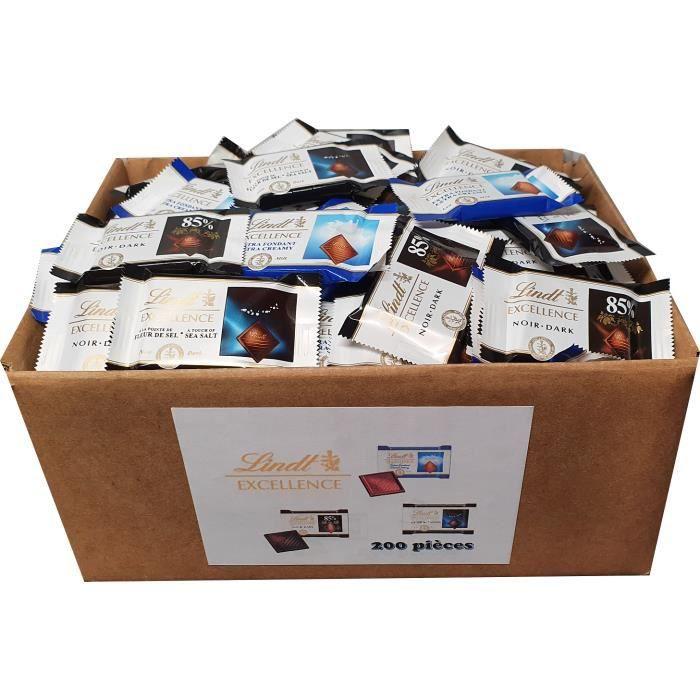 Lindt Excellence - Assortiment de 200 carrés de chocolat noir et lait