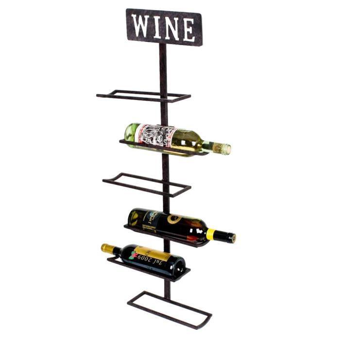 Étagère murale design vin 5x bouteilles suspendue support lettrage vin rouille couleur HARMS 504865