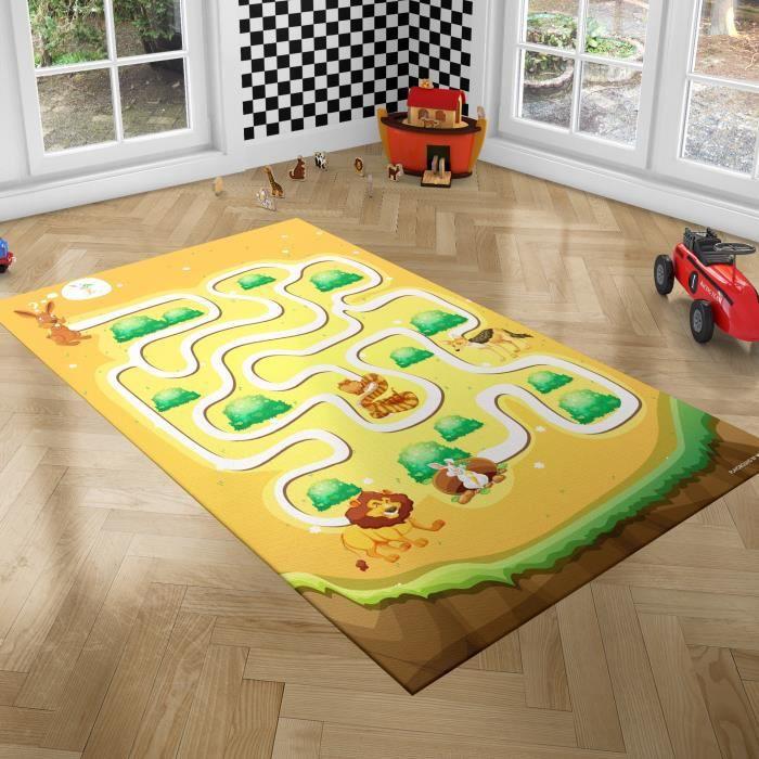 PLAYGROUND Tapis de Jeux pour Enfants - Tapis de Chambre - Labyrinthe - 100x150 cm