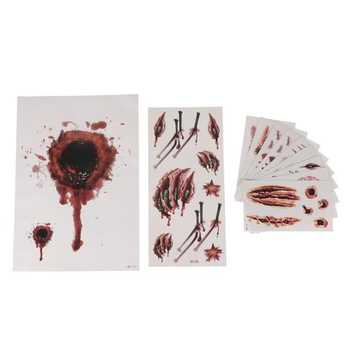 22 feuilles autocollants de tatouages cicatrices d'horreur d'art imperméables de TATTOOS - BODY JEWELERY - HAIR JEWELERY