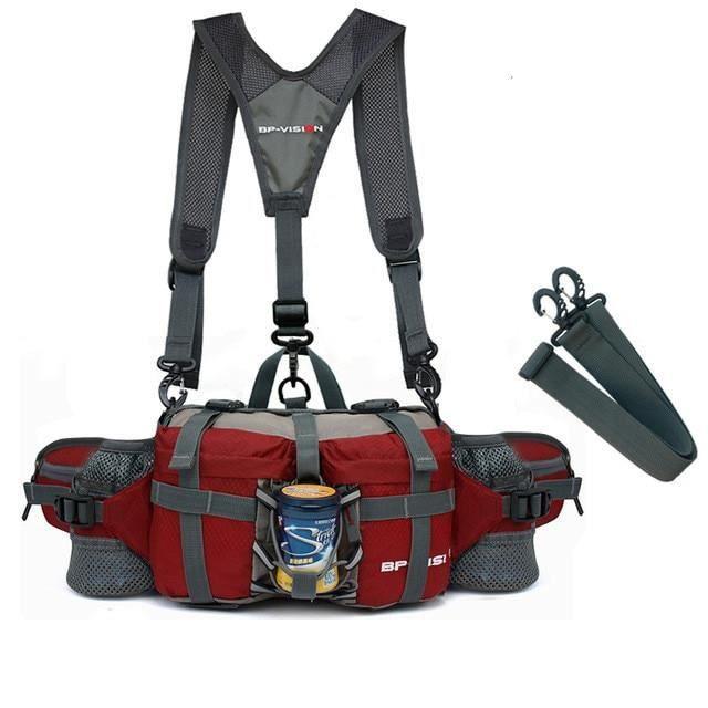 red with strap -Sac à bandoulière multifonction étanche pour hommes et femmes, sacoche de taille tactique pour Camping en plein air