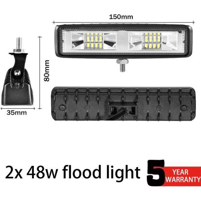 2x 48w Flood light -Barre d'éclairage Led 18-30-48-54w pour 4x4, 12-24V, lampe de travail tout terrain pour voiture, feu de recul