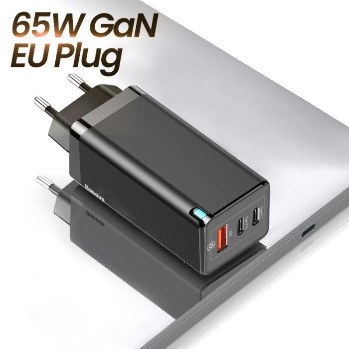 Chargeurs,Chargeur Baseus 65W GaN Charge rapide 4.0 3.0 Type C PD chargeur USB avec QC 4.0 3.0 chargeur rapide - Type EU Plug Black