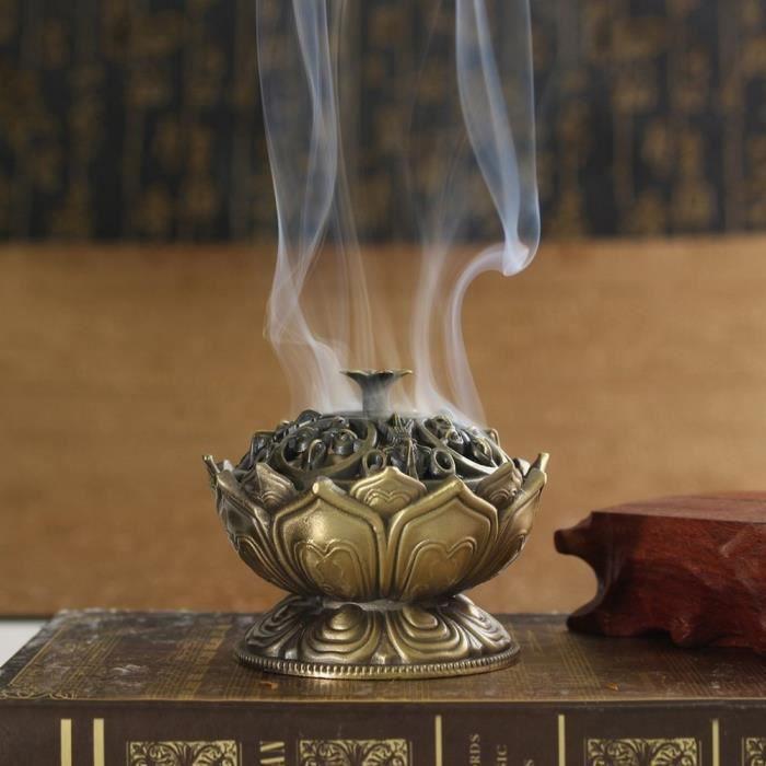 AR3278 Brûleur d'encens en alliage de bouddha chinois porte encens fleur de Lotus encensoir à la main pour la décoration de bur