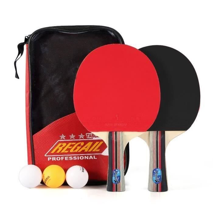 Kit Familial Set De Tennis De Table - 2 Raquette Ping Pong De Peuplier+ 3 Balle+1 Sac
