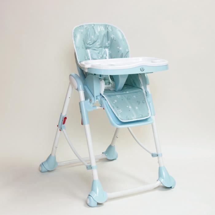 Chaise haute bébé Up and Down avec double plateau bleu