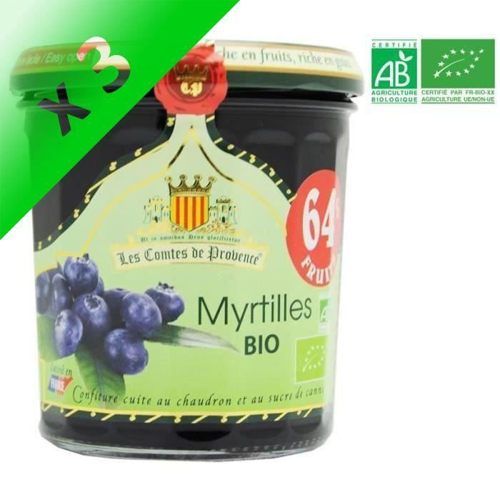 [LOT DE 3] LES COMPTES DE PROVENCE Confiture de Myrtilles Bio - 350g