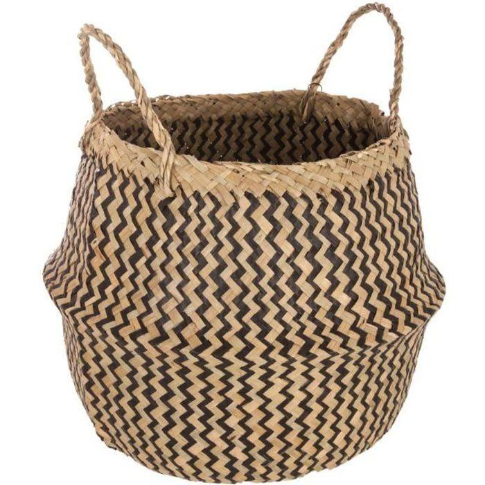 Panier tressé seagrass motif noir Ø40cm Noir, Beige