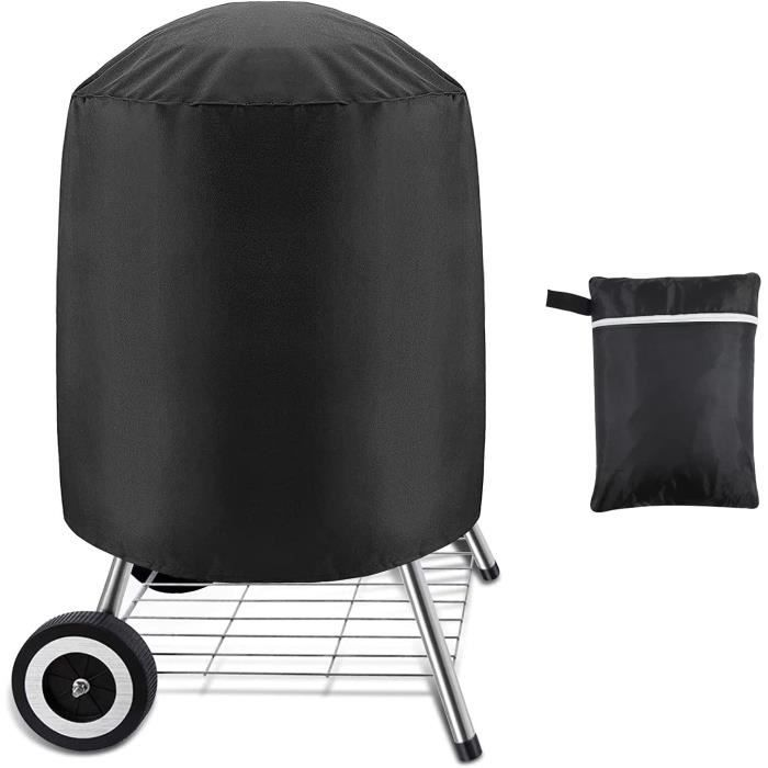Housse pour Barbecues Charbon, Bâche Imperméable pour Barbecue Grill Exterieur, Housse Barbecue Rond 58*77 cm, Noir