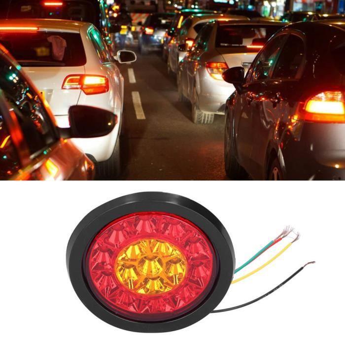 feu arrière à LED 12-24V 16LED feu arrière rond rouge jaune lumière couleur clignotant pour remorques camions caravane RV-XIS