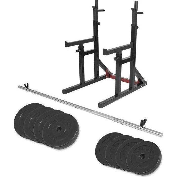 Gorilla Sports - Multi Rack à squat et developpé couché règlable + barre longue 170cm + 30kg des poids en plastique Noir