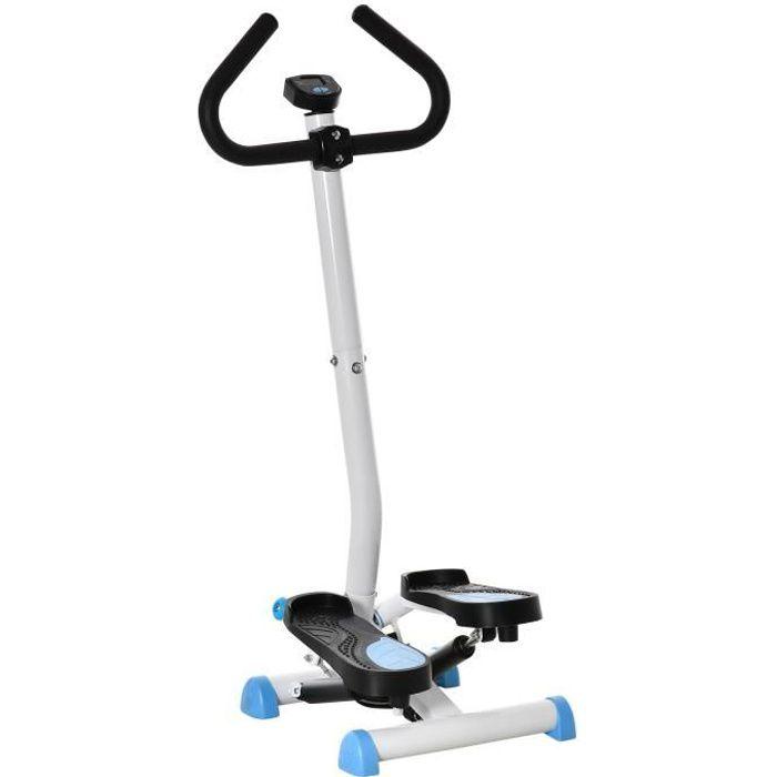 Stepper Fitness avec guidon ergonomique - écran LCD multifonction - résistance réglable - acier blanc bleu noir 55x44x108cm Bleu