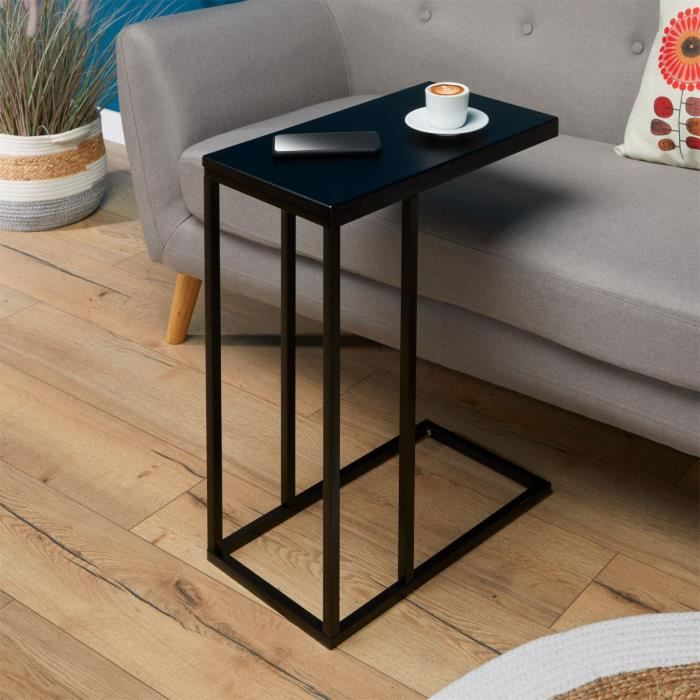 Bout de canapé DEBORA table d'appoint table à café table basse de salon cadre en métal noir et plateau rectangulaire en MDF noir mat