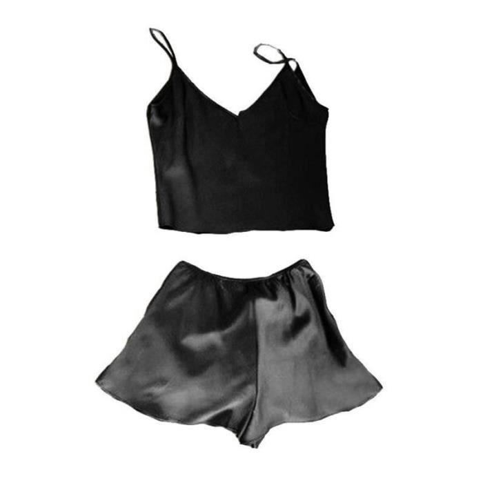Femmes Mini Débardeur Crop Tops Shorts Set Couleur Unie Vêtements De Nuit Pyjamas Sexy - Taille XL (Noir) TUTU - JUSTAUCORPS