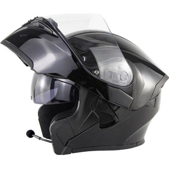 Casque de moto modulable double lentilles casque Bluetooth de sécurité hommes casque de scooter femmes, Noir brillant