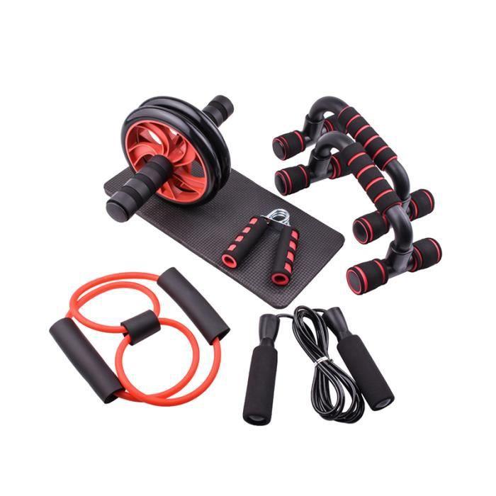 Ensemble d'outils d'exercice barre de poussée barre de puissance abdominale rouleau de roue de puissance corde à sauter tapis d'exer