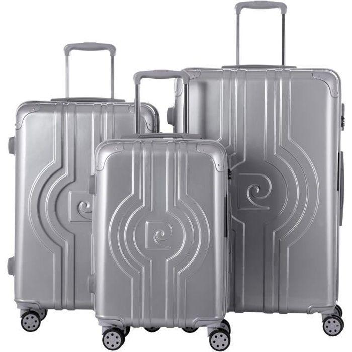Set de 3 valises : 1 bagage cabine 55 cm et 2 bagages grandes tailles 65 et 75 cm,,Argent,BAGAGE RIGIDE,PC13455-3SLV Argent